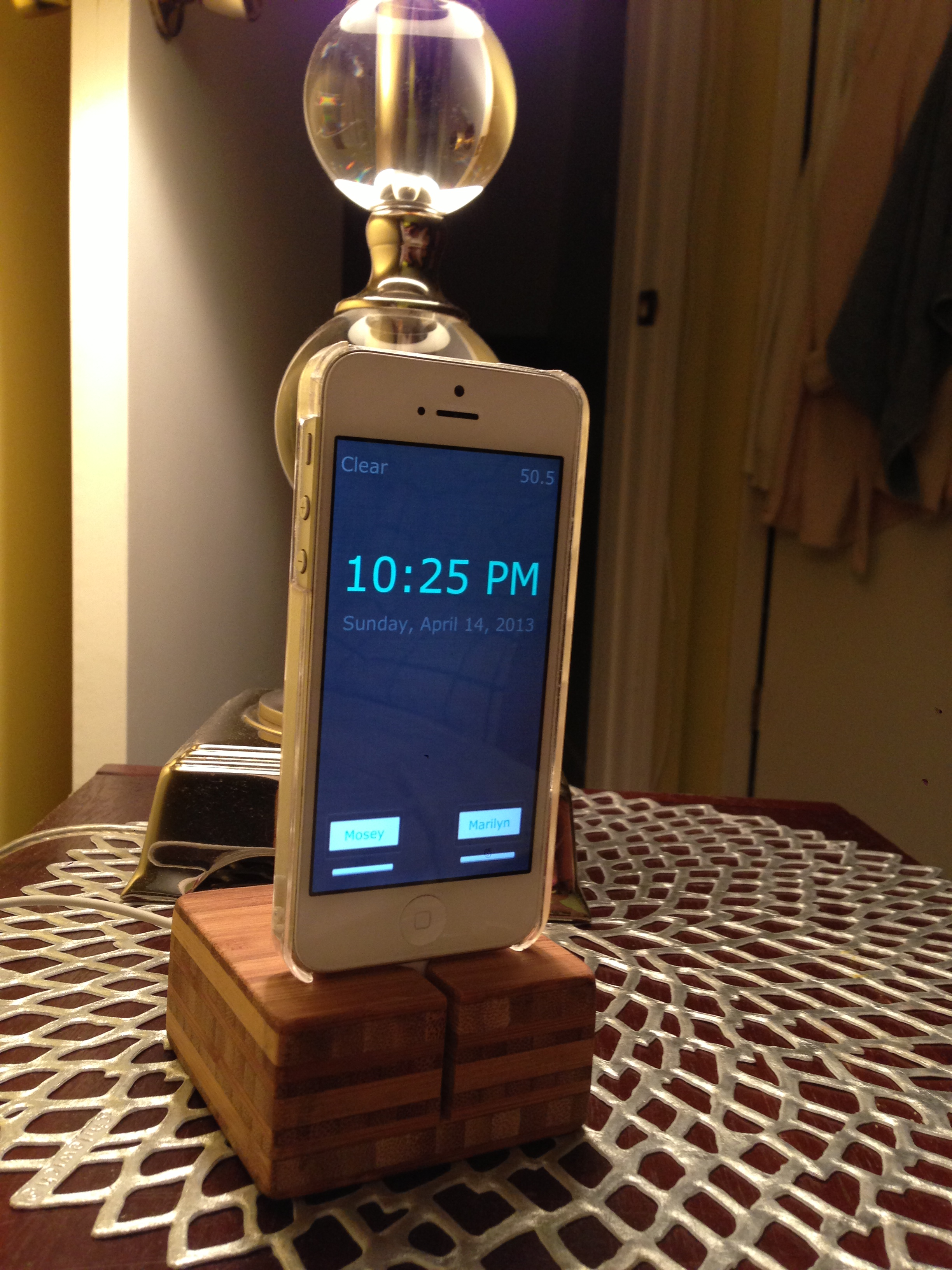 iPhone Night Stand Clock Weather & Light Control Example